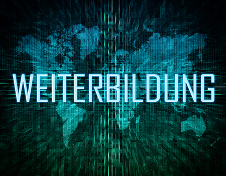 further: Weiterbildung - german word for further education text concept on green digital world map background Stock Photo