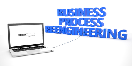 basic scheme: Business Process Reengineering - laptop notebook computer connected to a word on white background. 3d render illustration.