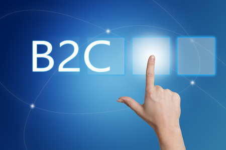 b2c: B2C - Business to Consumer - hand pressing button on interface with blue background.