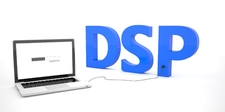 online bidding: DSP - Demand Side Platform - laptop notebook computer connected to a word on white background. 3d render illustration. Stock Photo