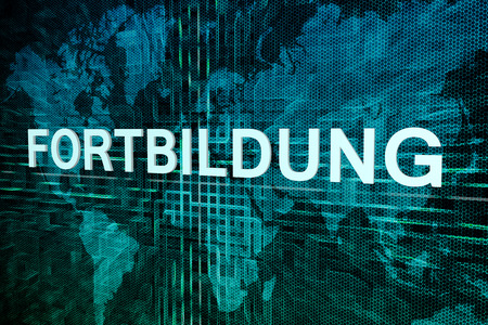 further: Fortbildung - german word for further education text concept on green digital world map background