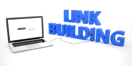 linkbuilding: Link Building - laptop notebook computer connected to a word on white background. 3d render illustration. Stock Photo