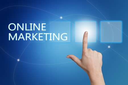 emarketing: Online Marketing - hand pressing button on interface with blue background.