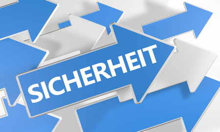sicherheit: Sicherheit - german word for safety or security - 3d render concept with blue and white arrows flying over a white background.