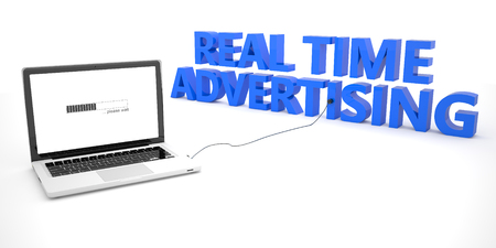 online bidding: Real Time Advertising - laptop notebook computer connected to a word on white background. 3d render illustration.