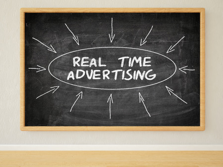 rta: Real Time Advertising - 3d render illustration of text on black chalkboard in a room. Stock Photo