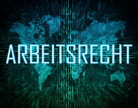 arbeitsrecht: Arbeitsrecht - german word for employmentlaw text concept on green digital world map background Stock Photo