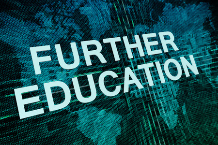 further education: Further Education text concept on green digital world map background