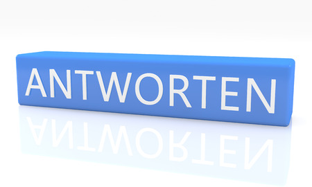 respond: Antworten - german word for answer or respond - 3d render blue box with text on it on white background with reflection Stock Photo