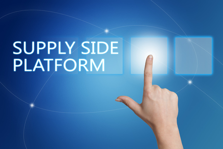online bidding: Supply Side Platform - hand pressing button on interface with blue background.
