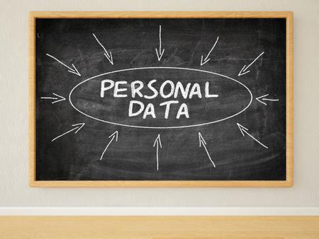 datos personales: Datos Personales - 3d ilustración del texto en el pizarrón negro en una habitación. Foto de archivo