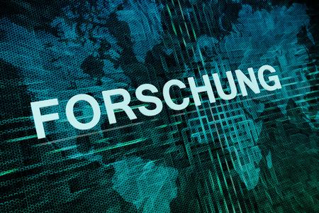 metodo cientifico: Forschung - palabra alemana para el concepto de texto de investigación en el mapa de fondo verde mundo digital