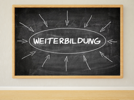 further: Weiterbildung - german word for further education - 3d render illustration of text on black chalkboard in a room.