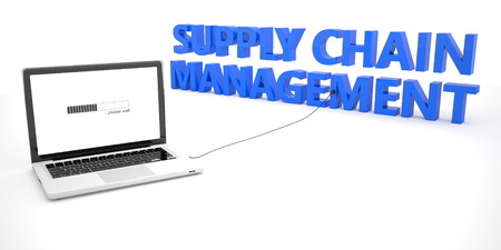 variance: Supply Chain Management - laptop notebook computer connected to a word on white background. 3d render illustration. Stock Photo
