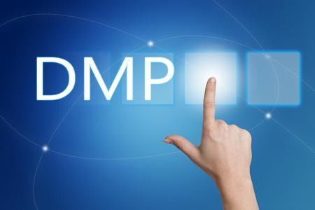 debt management: DMP - Data Management Platform or Debt Management Plan - hand pressing button on interface with blue background.