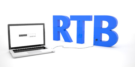 global investing: RTB - Real Time Bidding - laptop notebook computer connected to a word on white background. 3d render illustration.