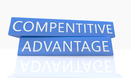 differentiation: Compentitive Advantage - 3d render blue box with text on it on white background with reflection Stock Photo