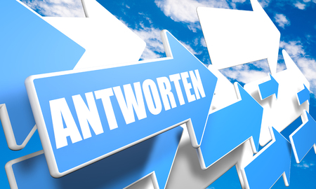 search query: Antworten - german word for answer or respond - 3d render concept with blue and white arrows flying in a blue sky with clouds Stock Photo