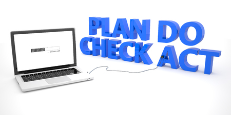 plan do check act: Plan Do Check Act - laptop notebook computer connected to a word on white background. 3d render illustration. Stock Photo