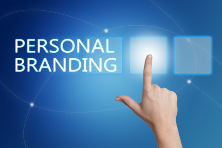 successful campaign: Personal Branding - hand pressing button on interface with blue background.