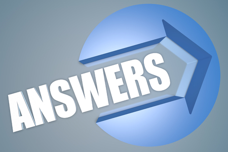 Answers - text 3d render illustration concept with a arrow in a circle on blue-grey background Stock Photo