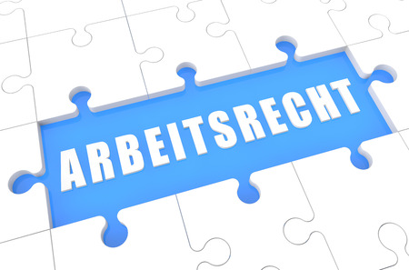arbeitsrecht: Arbeitsrecht - german word for laborlaw - puzzle 3d render illustration with word on blue background
