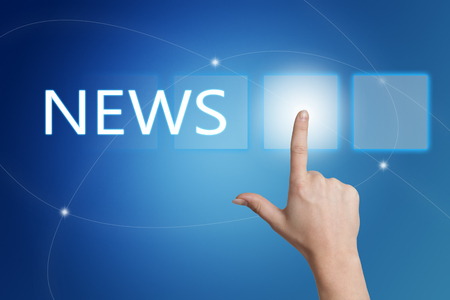 news current events: News - hand pressing button on interface with blue background.