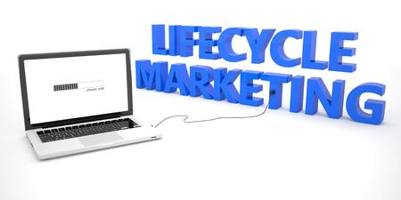 ciclo de vida: Ciclo de vida de Marketing - ordenador port�til ordenador port�til conectado a una palabra sobre fondo blanco. 3d ilustraci�n.