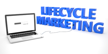 lifecycle: Lifecycle Marketing - laptop notebook computer connected to a word on white background. 3d render illustration. Stock Photo