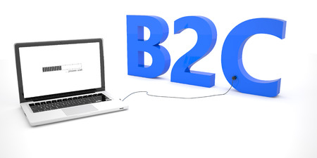 b2c: B2C - Business to Consumer - laptop notebook computer connected to a word on white background. 3d render illustration.