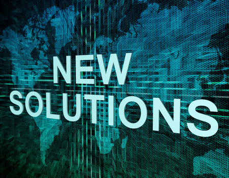 new solutions: New Solutions text concept on green digital world map background