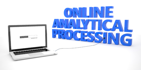 online analytical processing: Online Analytical Processing - laptop notebook computer connected to a word on white background. 3d render illustration.