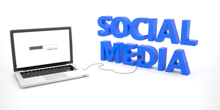 wikis: Social Media - laptop notebook computer connected to a word on white background. 3d render illustration. Stock Photo