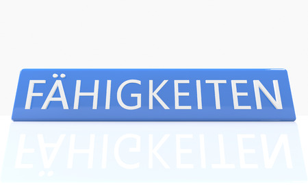 lead sled: Faehigkeiten - german word for skills - 3d render blue box with text on it on white background with reflection