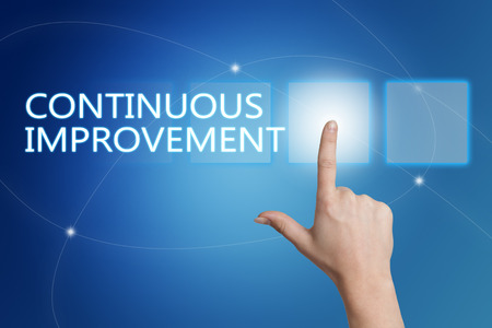 cip: Continuous Improvement - hand pressing button on interface with blue background.