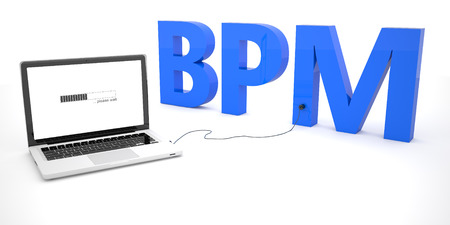 bpm: BPM - Business Process Management - laptop notebook computer connected to a word on white background. 3d render illustration.