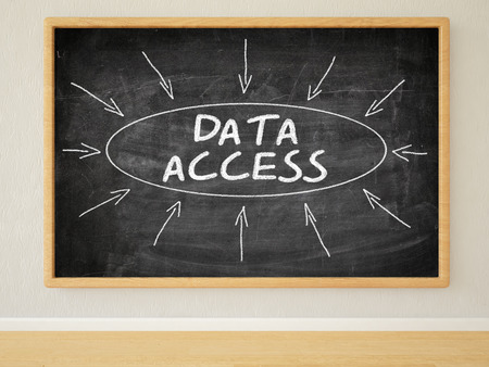 room access: Data Access - 3d render illustration of text on black chalkboard in a room.