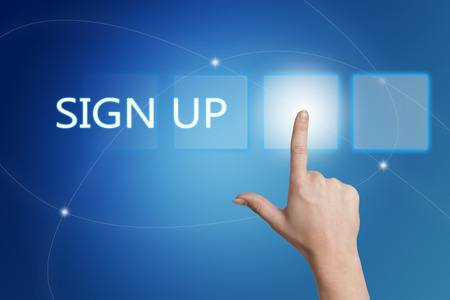 signup: Sign up - hand pressing button on interface with blue background.