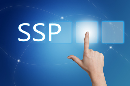 online bidding: SSP - Supply Side Platform - hand pressing button on interface with blue background. Stock Photo