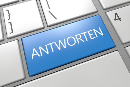 respond: Antworten - german word for answer or respond - keyboard 3d render illustration with word on blue key