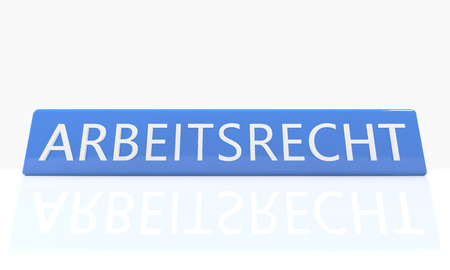 arbeitsrecht: Arbeitsrecht - german word for labor�law - 3d render blue box with text on it on white background with reflection