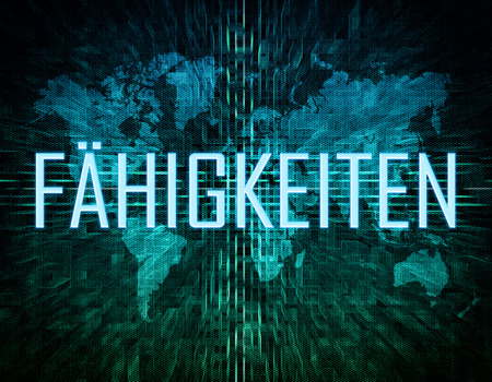 leading education: Faehigkeiten - german word for skills, ability or competence text concept on green digital world map background Stock Photo
