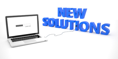 new solutions: New Solutions - laptop notebook computer connected to a word on white background. 3d render illustration.