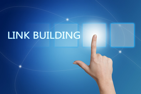 Link Building - hand pressing button on interface with blue background.