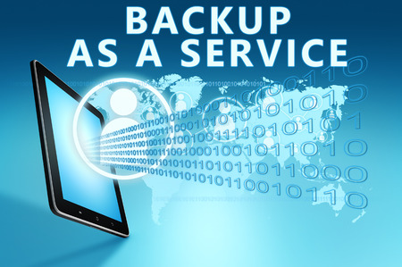 web services: Backup as a Service illustration with tablet computer on blue background