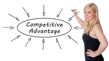differentiation: Competitive Advantage - young businesswoman drawing information concept on whiteboard. Stock Photo