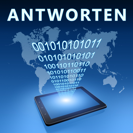 respond: Antworten - german word for answer or respond illustration with tablet computer on blue background