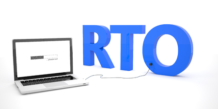 time critical: RTO - Recovery Time Objective - laptop notebook computer connected to a word on white background. 3d render illustration. Stock Photo