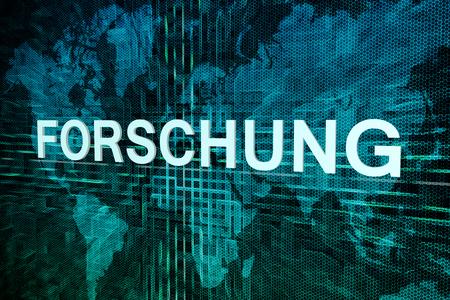 metodo cientifico: Forschung - palabra alemana para el concepto de texto de investigaci�n en el mapa de fondo verde mundo digital