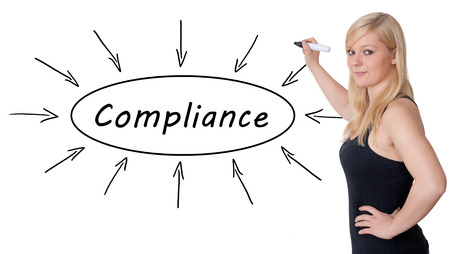 agency agreement: Compliance - young businesswoman drawing information concept on whiteboard. Stock Photo